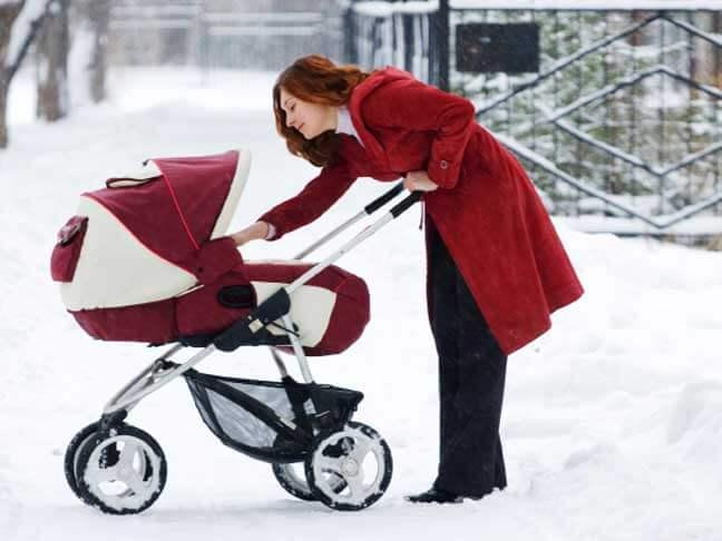 Procházka s kočárkem v zimě