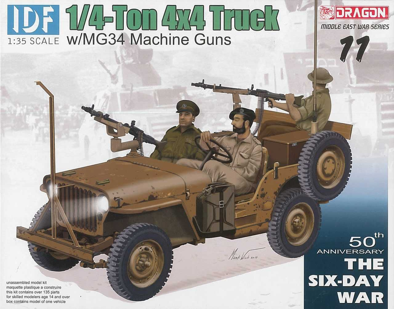 DRAGON Model Kit military 3609 - IDF 1/4-Ton 4x4 Truck w/MG34 Machine Guns (1:35) - obrázek 1