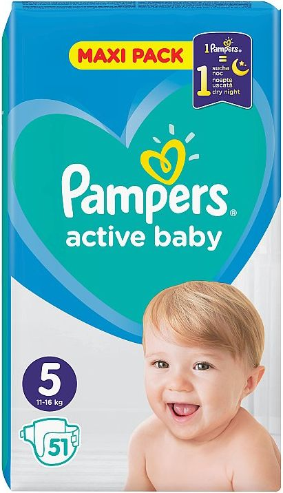 Pampers Active Baby Maxi Pack S5  51 ks - obrázek 1